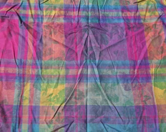 Vintage Madras Plaid BATIK Cotton 44 inches Wide x 1 yd. 10 inches Pink Turquoise Green Yellow Purple