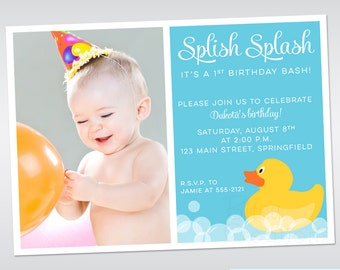 Rubber Ducky Invitation Printable Rubber Duck Birthday Photo Birthday Invitation