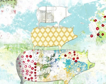 Pig Art Print, Modern Kitchen  Art Reproduction , 11x14 Giclee Print , Whimsical Mixed Media Collage Wall Art