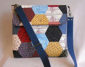 Quilted Messenger Bag - 13.5 x 12.5 - Hexagon Quilt  - 19th Century Prints