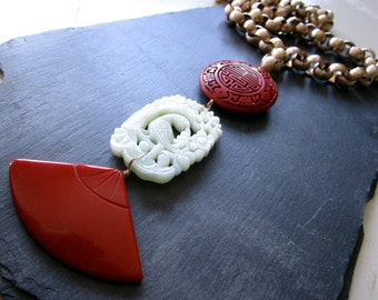 Ode to Grace - Pendant Necklace - Vintage Bakelite - Jade - Cinnabar - Chain - Etsy - Jewelry - catROCKS - Grace and Frankie - Lily Tomlin