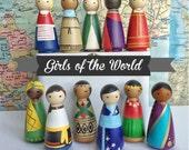 Full Set - Girls of the World multicultural peg dolls