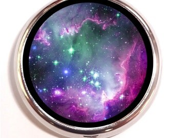 Universe Stars Pill Box case Pillbox Celestial Outerspace Cosmic Outer Space Galaxy Astronomy Astronomical Lunar Trinket Box Guitar Pick Box