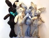 Knit Bunny Rabbit Toy NeWBoRN BaBY PHoTO PRoP Floppy Ear Bunny SHaBBY CHiC SoFT ToY Kid STuFFeD ANiMaL Black OFF WHiTe Soft Blue IVoRY Tweed