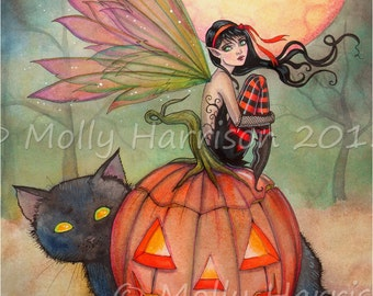 Original Painting - Halloween Pixie - Fairy with Black Cat and Jack-o-Lantern - Halloween Fantasy Art by Molly Harrison - Watercolor and Ink