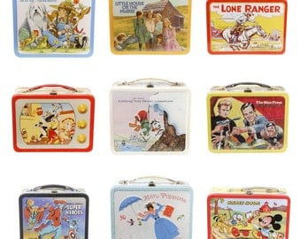 Retro Lunchbox Magnet - Lone Ranger, Looney Tunes, Marvel Superheroes, Mary Poppins, Mickey Mouse, Man From UNCLE, Little Friends, TV Shows