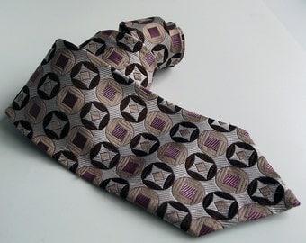 Vintage Mens Necktie - Cream, Brown and Dusky Pink Geometric Patterned Tie