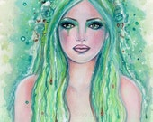 Original green  mermaid painting  fantasy art  MRMD  By Renee L. Lavoie