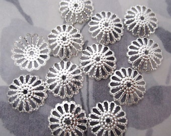 30 pcs. silver tone filigree flower bead caps 14mm - f4709