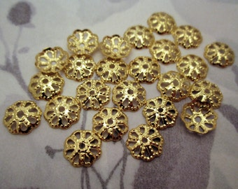 72 pcs. gold tone filigree flower 9mm bead caps - f4732