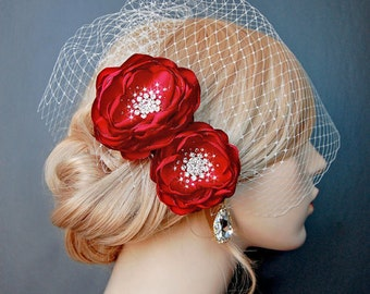Wedding Hair Flowers, Red Bridal Hair Flowers, Wedding Sash Accessory, Brooch 2 Piece Set - Valentine Red Blooms