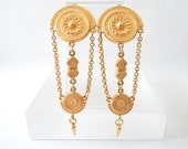 "Signed BEN-AMUN Moroccan Drop 60s Couture Gold Tone 3.5"" Long VTG Earrings"