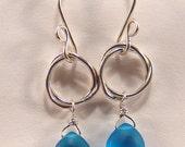 Infinitely knot / blue topaz briolette dangle Earrings Argentium Silver