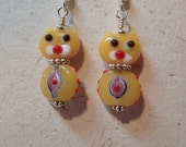 Meow Purr Mew Kitten Yellow Cat  Glass Earrings with Silver