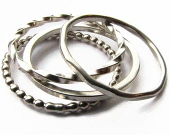 Quattro Rings - Four Stacking Bands in Sterling Silver Narrow Simple Ring
