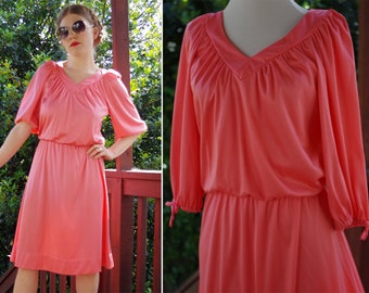 BUBBLEGUM 1970's Vintage Bright Pink Draped Tunic Dress with Half Sleeves // size Small Med