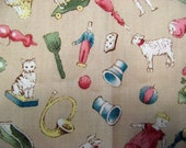 Fat Quarter Playtime Victorian Toys and Animals Blue Pink White Allover on Beige Novelty Fabric - Clothworks - OOP