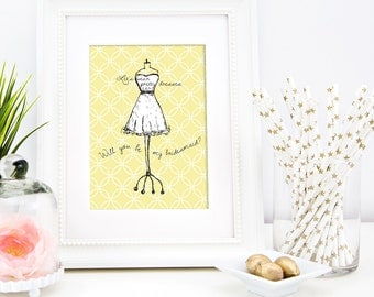 Let's wear pretty dresses Will you be my Bridesmaid / Printable card / Yellow white black / wedding card / handmade wedding / print at home