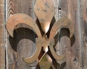 "18"" tall Steel Twisted Steel Fleur de Lis wall hanging sculpture with distressed finish - New Orleans -Slidell - NOLA metalart"