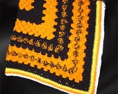 "Crochet Lap Throw/Baby Blanket, Halloween/Fall Theme,  Approx. 36"" Square"