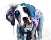 Dog Art Print, Great Dane, Drip Painting, Watercolor Art, Dog Painting, Giclee Print, Gift for Dog Lovers, Dog Art, Wall Art, Pet Portrait