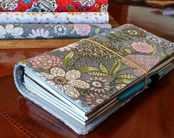 Fabric Fauxdori Travelers Notebook Cover Floral on grey fits Midori inserts
