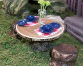 Fairy or gnome Garden miniature wood table with tree stump chairs and table setting