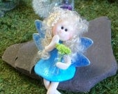 Sitting Sweet Fairy with her glass vase and flowers, planters or for Fairy Gardens