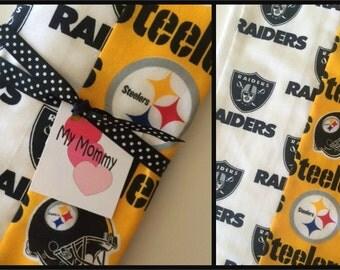 Super  Football Team Rival  Raiders Steelers or Your Team Choice.... Big Game Bowl Burp Cloth