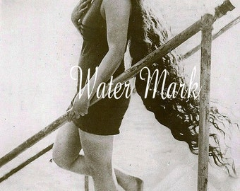 Digital Download Instant*Bathing beauty*Actress*Very long hair*Beach cottage fun*Collage,sewin,tags,cards*Pillows*Sachets