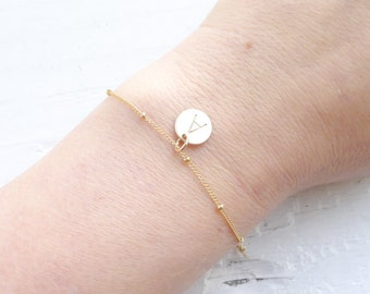 Dainty Gold Initial Bracelet Bridesmaid Gifts Personalized Initial Braclet Simple Jewelry Gift for Best Friend