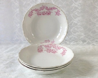 4 Oliver China Berry Bowls, Pink Scrolls and Flowers, Marked France