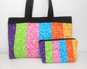 Rainbow Purse and Cosmetic Pouch Zipper Closure