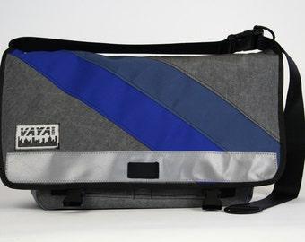 Messenger bag in grey, blue and indigo