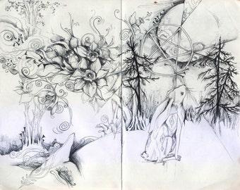 Moon Gazing Hare // Faerie / Fantasy Art Print