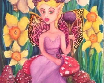 Fantasy Art Painting Magic Mushrooms Fairy Queen With Daffodils Original Watercolor by Candace Byington