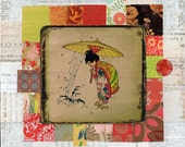 altered vintage japanese illustration of child in kimono with umbrella on mixed media collage : peaceful Japan.7