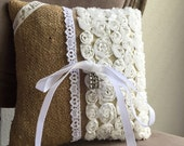 Burlap and Vintage Rhinestones Bohemian Country Elegance Ring Pillow