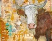 "Original Mixed Media Art | Cow art 12x12"" Steer Stare"