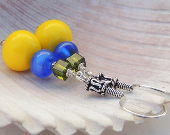 LAPIS AND LIME Handmade Lampwork Bead Dangle Earrings