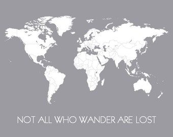 World Map - Not All Who Wander Are Lost Travel Map - Adventure Awaits Poster of World - Gift for Traveler, Going Away Gift, Gifts Under 50