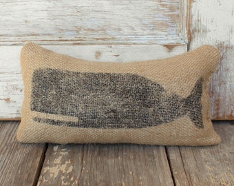 Cachalot Whale-  Burlap Feed Sack Doorstop - Nautical Door Stop - Burlap Decor