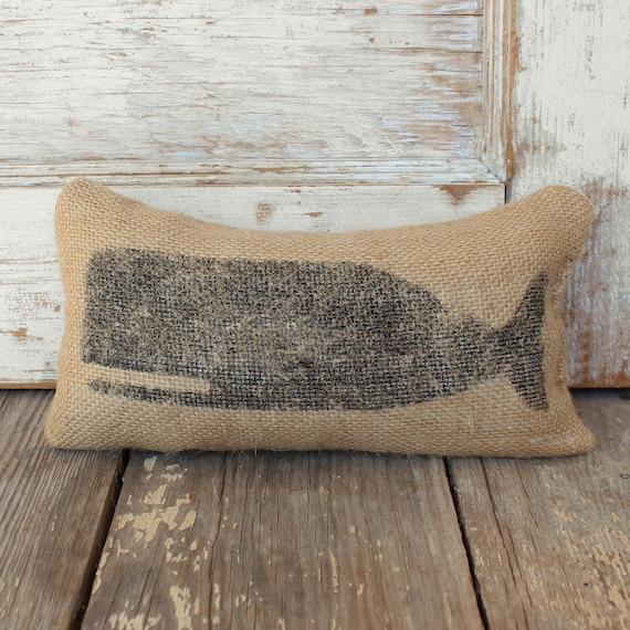 Cachalot Whale-  Burlap Feed Sack Doorstop - Nautical Door Stop - Burlap Decor
