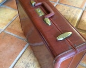Samsonite Leather Suitcase Shwayder Luggage Red Brown Vintage Key Mid Century