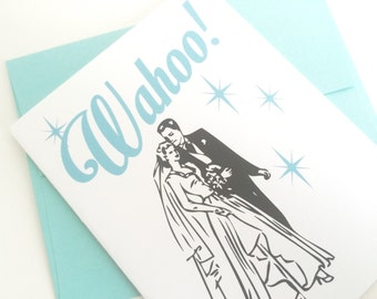 Wahoo Wedding Card. Card for Bride. Card for Groom. Vintage Wedding Card. Retro Wedding Card. Classic Wedding Card. Wedding Gift Card.