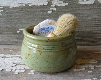 Moss Green Shaving Bowl - Shave Cup - Shaving Scuttle - Men's Gift Set
