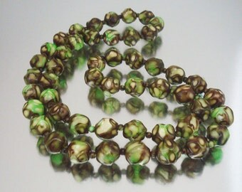 Chocolate Mint Bead Necklace Green Brown