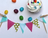 Cotton Candy baby mix Cake Bunting. Pink fabric mini Ribbon spool. aqua cake topper and save the date cards.