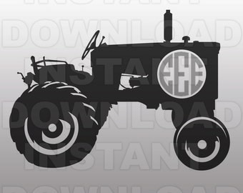 Farm Tractor Monogram John Deere SVG File Cutting Template-Vector Clip Art for Commercial & Personal Use-Download-Cricut,Cameo,Explore,SCAL