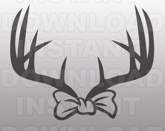 Deer Antler Bow SVG File Cutting Template-Silhouette Clip Art for Commercial and Personal Use-Cricut,SCAL,Cameo,Sizzix,Pazzles,Vinyl Decal